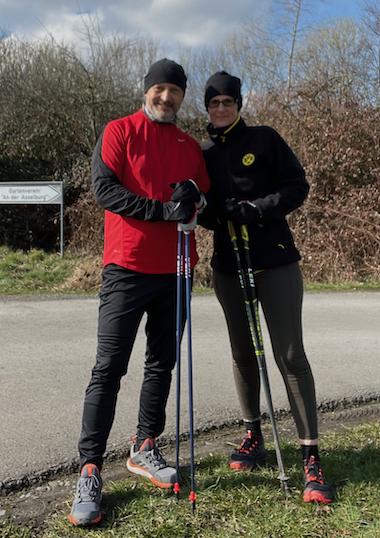 Nicole Allen und Guido Stolecki. Nordic Walking in Dortmund
